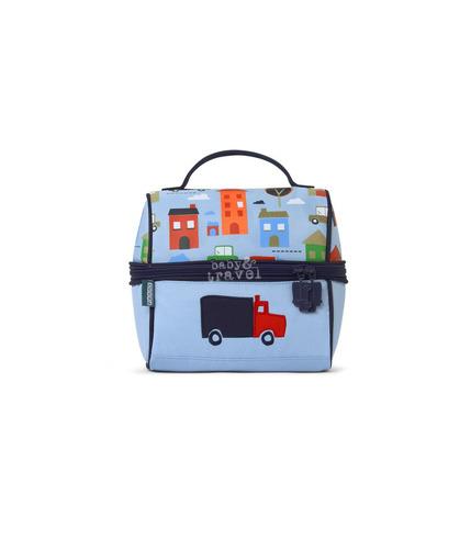 Lunchbox z zamkiem na środku niebieski w autka