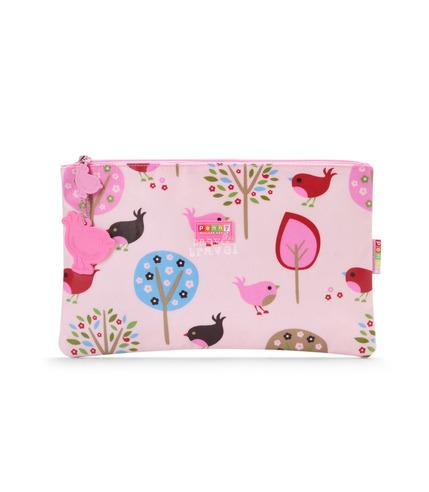 Wielofunkcyjny portfel różowy w ptaszki