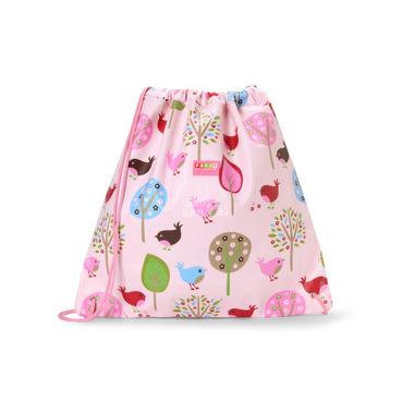 Uniwersalna torba na sznurek różowa w ptaszki