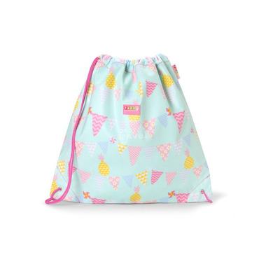 Uniwersalna torba na sznurek miętowo - różowa w ananasy