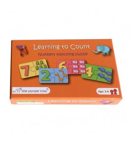 The Purple Cow Gra puzzle 2-elementowe nauka liczenia