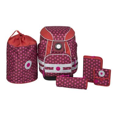 Lassig Plecak szkolny XL ze sztywnymi plecami, 2 piórnikami, workiem i saszetką Dottie red