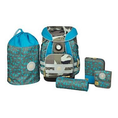 ce239f2cd0c83 Lassig Plecak szkolny XL ze sztywnymi plecami, 2 piórnikami, workiem i  saszetką Dino slate ...