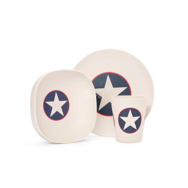 Bambusowe naczynia dla dziecka granatowy z gwiazdą