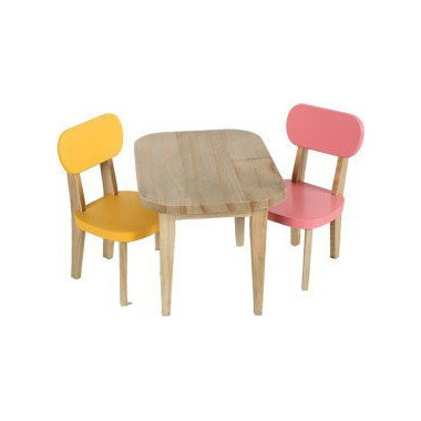 Maileg, stolik z krzesłami żóltym i różowym