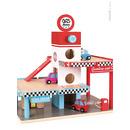 Janod, stacja benzynowa garaż drewniany z 8 elementami,