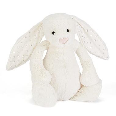 Króliczek biały z uszami w gwiazdki 18cm