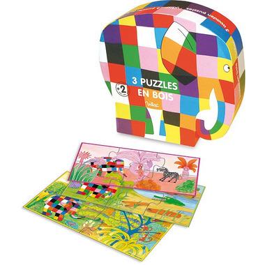 Vilac, Elmer 3 puzzle 3- 4- 6- elementów drewniane