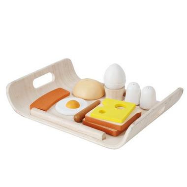 Plan Toys, Śniadanie na tacy - drewniany zestaw do zabawy