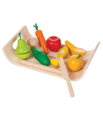 Plan Toys, Warzywa i owoce na tacy - drewniany zestaw do zabawy
