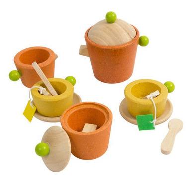 Plan Toys, Serwis do herbaty - drewniany zestaw do zabawy