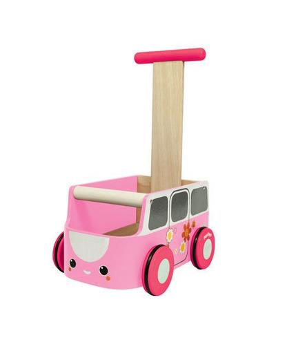 Plan Toys, Drewniany chodzik różowy van