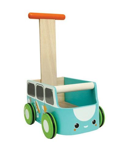 Plan Toys, Drewniany chodzik niebieski van