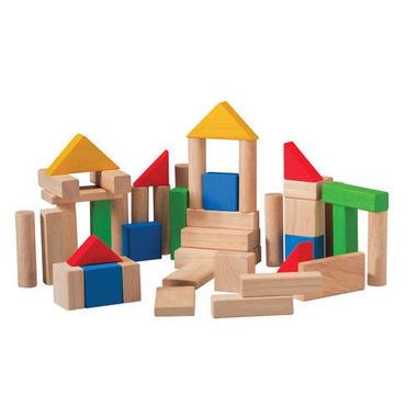 plan toys, Drewniane klocki kolorowe 50 sztuk