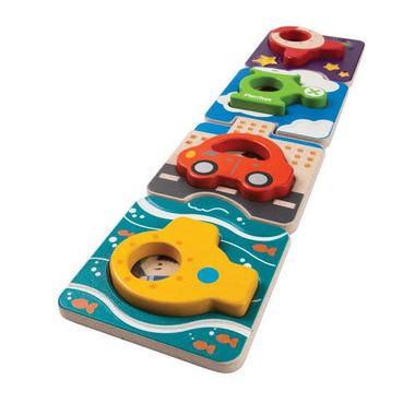 plan toys, Drewniane puzzle pojazdy