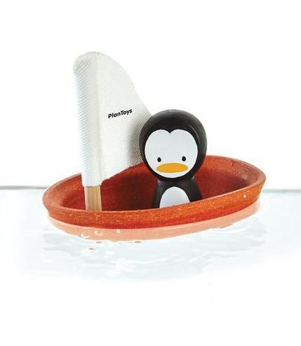 plan toys, Żaglówka z pingwinem - zabawka do kąpieli