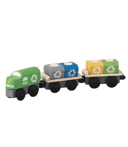 plan toys, Pociąg do przewozu odpadów - zestaw drewnianych wagoników