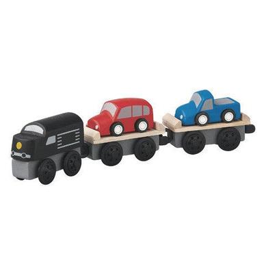 plan toys, Pociąg transportowy - zestaw drewnianych wagoników
