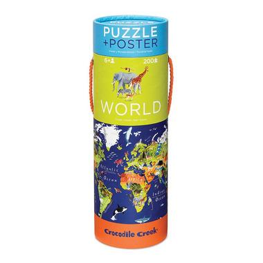Crocodile Creek, Puzzle 200 elementów, wzór Mapa Świata