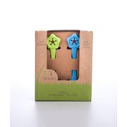 Uchwyt na śliniak 2 szt - 100% BIOplastik  zielony&niebieski