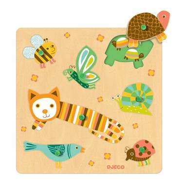 Puzzle drewniane z uchwytami zwierzątka z łąki Djeco