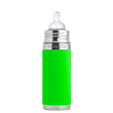 Pura,Termobutelka Pura Kiki ze smoczkiem i zieloną osłonką