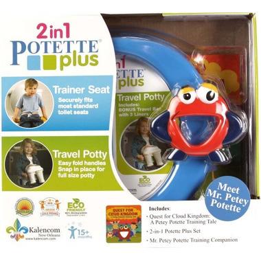 Potette Plus, Zestaw Potette Plus 2w1  książeczka + zabawka, niebieski