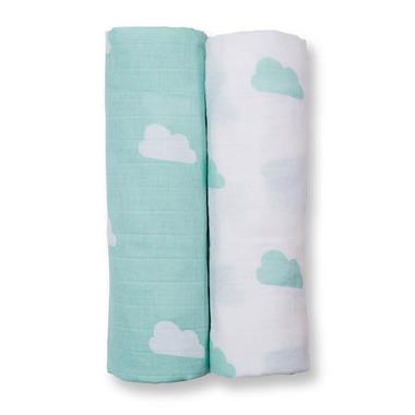 Lulujo, Otulacz Muślinowy 2szt Aqua Clouds