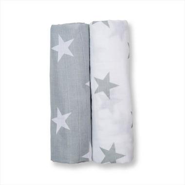 Lulujo, Otulacz Muślinowy 2szt Grey Stars