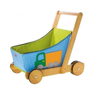 Wózek drewniany dla chłopca niebieski