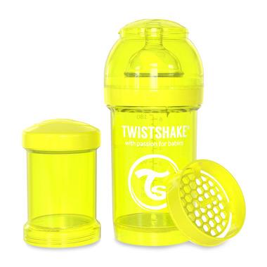 Twistshake, Butelka antykolkowa do karmienia 180ml,żółta