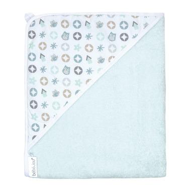Bebe-jou, Ręcznik z kapturkiem Miętowe sówki 85 x 75 cm