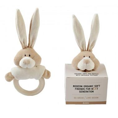 Wooly Organic, Classic Bunny, Zajączek grzechotka organiczna z drewnianym gryzakiem