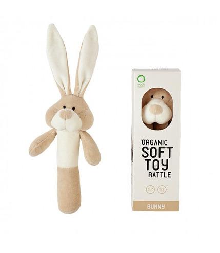 Wooly Organic, Classic Bunny, Zajączek grzechotka organiczna, 17cm
