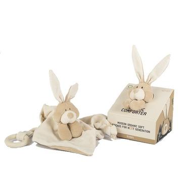 Wooly Organic, Classic Bunny, Zajączek przytulaczek z drewnianym gryzakiem, 24 cm