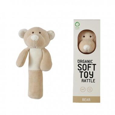 Wooly Organic, Classic Teddy, Miś grzechotka organiczna, 16,5 cm