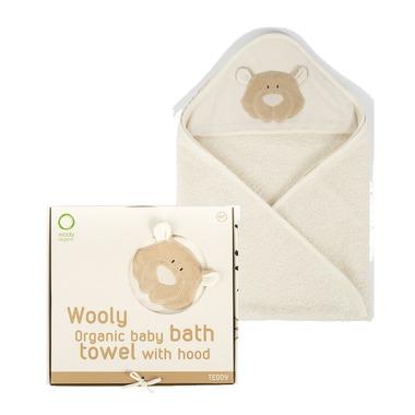 Wooly Organic, Classic Teddy, Miś Organiczny ręcznik kąpielowy z kapturem, 75x75cm