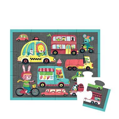 MUDPUPPY, Puzzle w saszetce Pojazdy 12 elementów