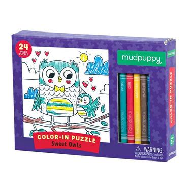 MUDPUPPY, Puzzle kolorowanka z 5 kredkami Słodkie Sowy