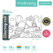 MUDPUPPY, Kolorowanka w rolce 76cm z 4 kredkami Środki transportu