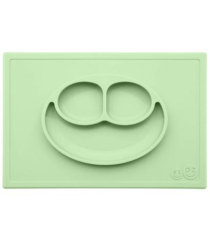 EZPZ, Silikonowy talerzyk z podkładką 2w1 Happy Mat pastelowa zieleń