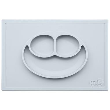 EZPZ, Silikonowy talerzyk z podkładką 2w1 Happy Mat pastelowa szarość