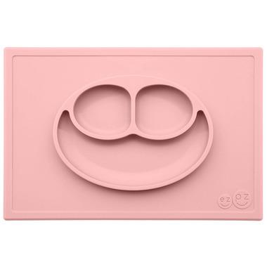 EZPZ, Silikonowy talerzyk z podkładką 2w1 Happy Mat pastelowy róż