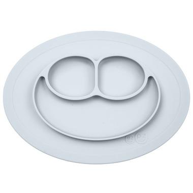 EZPZ, Silikonowy talerzyk z podkładką mały 2w1 Mini Mat pastelowa szarość