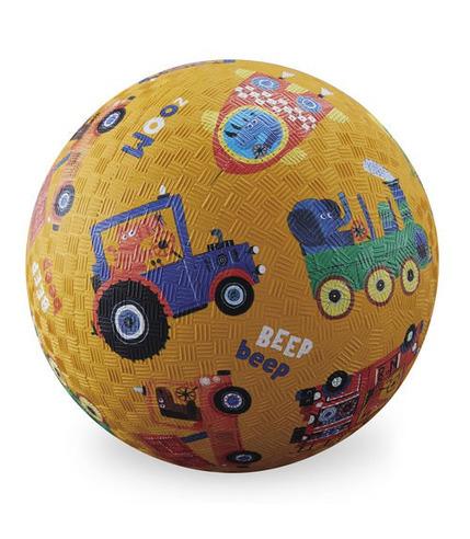 Crocodile Creek, Piłka 5 cali, 13 cm, wzór Pojazdy, wersja pomarańczowa