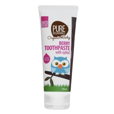 Pure Beginnings Organic Baby, Pasta do Zębów bez fluoru z Ksylitolem o smaku Dojrzałych Malin, 75ml