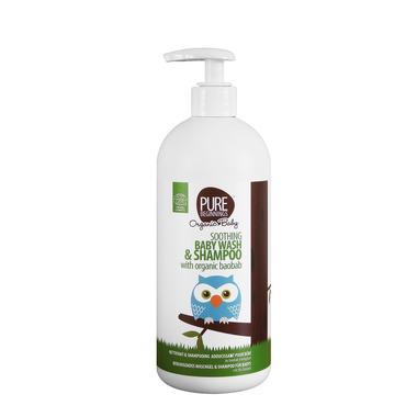 Pure Beginnings Organic Baby, Łagodzący Żel do Mycia Ciała i Szampon 2w1 z Organicznym Olejem z Baobabu, 500ml