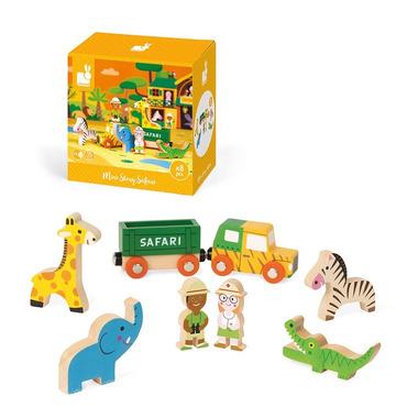 Janod, Dzikie zwierzęta zestaw drewniany 8 elementów kolekcja Story