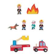Janod, Strażacy zestaw drewniany 8 elementów kolekcja Story