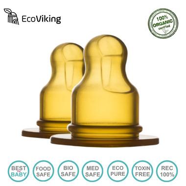 Eco Viking, Antykolkowy Ortodontyczny Smoczek Kauczuk naturalny Stage 1 dla Noworodków 2 PACK